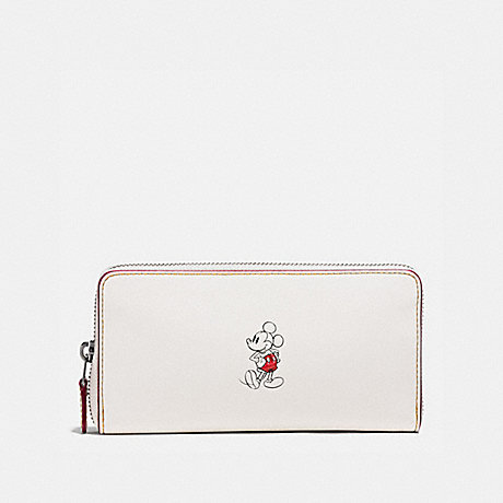COACH f58939 ACCORDION ZIP WALLET IN GLOVE CALF LEATHER WITH MICKEY BLACK ANTIQUE NICKEL/CHALK