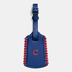 MLB LUGGAGE TAG IN SMOOTH CALF LEATHER - f58943 - CHI CUBS
