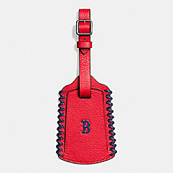 COACH F58943 Mlb Luggage Tag In Smooth Calf Leather BOS RED SOX