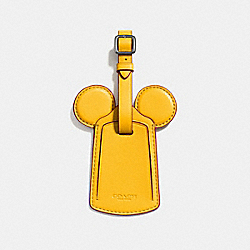 COACH F58945 Luggage Tag With Mickey Ears BLACK ANTIQUE NICKEL/BANANA