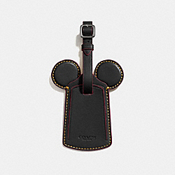 COACH F58945 Luggage Tag With Mickey Ears ANTIQUE NICKEL/BLACK