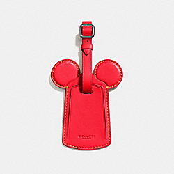 COACH F58945 Luggage Tag With Mickey Ears BLACK ANTIQUE NICKEL/BRIGHT RED