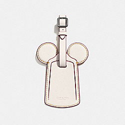 COACH F58945 Luggage Tag With Mickey Ears BLACK ANTIQUE NICKEL/CHALK