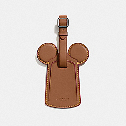 COACH LUGGAGE TAG WITH MICKEY EARS - ANTIQUE NICKEL/SADDLE - F58945