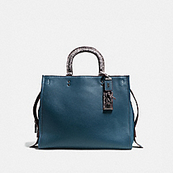 COACH F58965 - ROGUE 36 WITH COLORBLOCK SNAKESKIN DETAIL DARK DENIM/BLACK COPPER