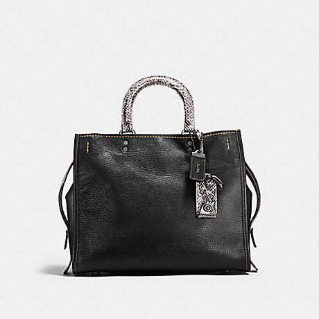 COACH F58966 ROGUE WITH COLORBLOCK SNAKESKIN DETAIL BLACK/BLACK COPPER