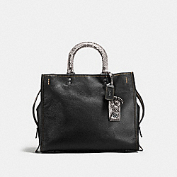 COACH F58966 - ROGUE WITH COLORBLOCK SNAKESKIN DETAIL BLACK/BLACK COPPER