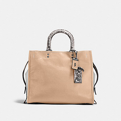 COACH F58966 ROGUE WITH COLORBLOCK SNAKESKIN DETAIL BP/BEECHWOOD