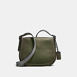 COACH F58967 Saddle 23 With Colorblock Snakeskin Detail OLIVE/BLACK COPPER