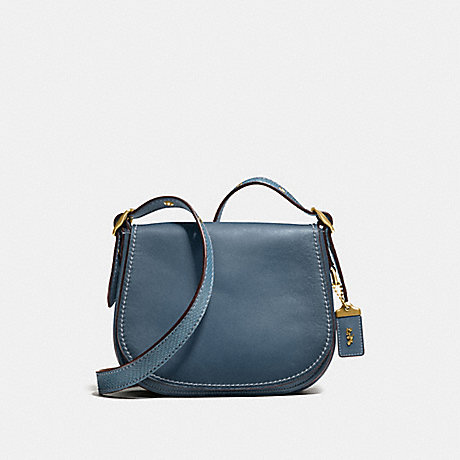 COACH F58967 SADDLE 23 WITH COLORBLOCK SNAKESKIN DETAIL DARK DENIM/OLD BRASS