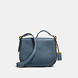 SADDLE 23 WITH COLORBLOCK SNAKESKIN DETAIL - F58967 - DARK DENIM/OLD BRASS