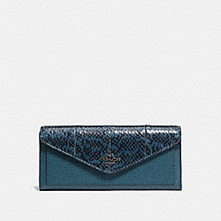 COACH F59008 Soft Wallet In Colorblock Snakeskin MINERAL/DARK GUNMETAL