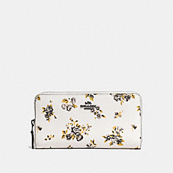 ACCORDION ZIP WALLET WITH PRAIRIE PRINT - f59014 - DARK GUNMETAL/PRAIRIE PRINT CHALK