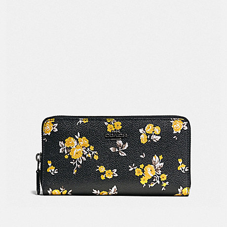 COACH F59014 ACCORDION ZIP WALLET WITH PRAIRIE PRINT PRAIRIE PRINT BLACK/DARK GUNMETAL