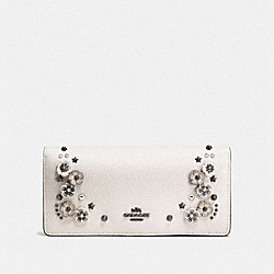 COACH F59015 Slim Wallet With Tea Rose Detail CHALK/DARK GUNMETAL