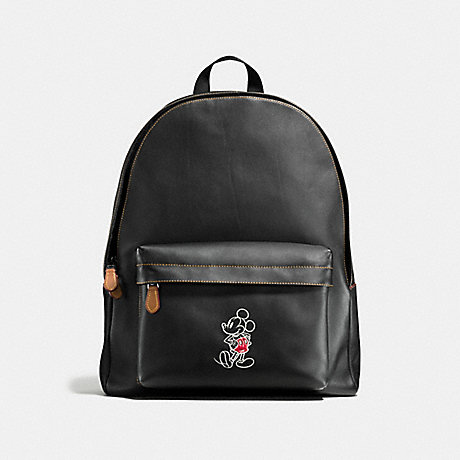 COACH f59018 CHARLES BACKPACK IN GLOVE CALF LEATHER WITH MICKEY BLACK/DARK SADDLE