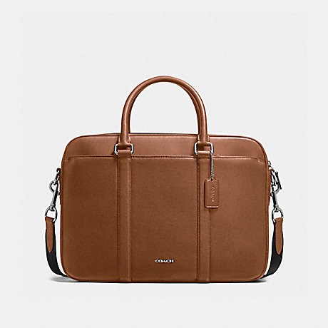 COACH f59057 PERRY SLIM BRIEF IN CROSSGRAIN LEATHER DARK SADDLE