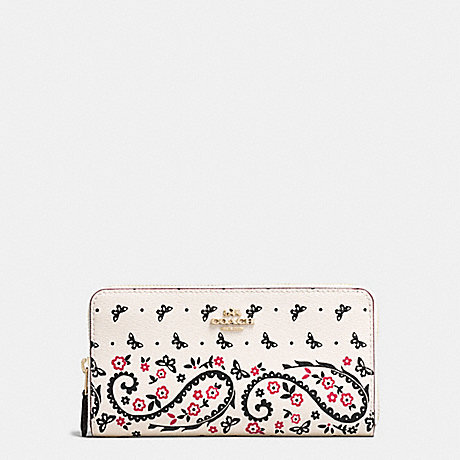 COACH F59063 ACCORDION ZIP WALLET IN BUTTERFLY BANDANA PRINT COATED CANVAS IMITATION-GOLD/CHALK/BRIGHT-PINK