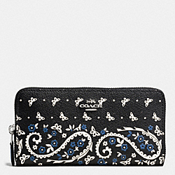 COACH F59063 Accordion Zip Wallet In Butterfly Bandana Print Coated Canvas SILVER/BLACK LAPIS