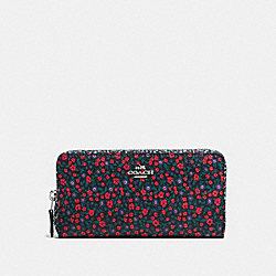COACH F59066 Accordion Zip Wallet In Ranch Floral Print Mix Coated Canvas SILVER/BRIGHT RED