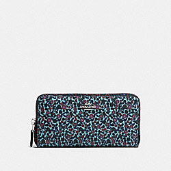 COACH F59066 Accordion Zip Wallet In Ranch Floral Print Mix Coated Canvas SILVER/MIST