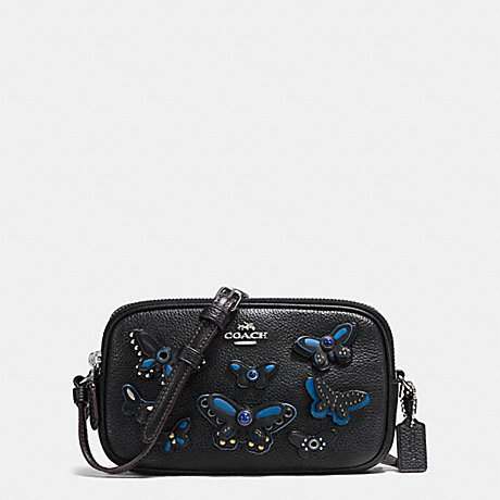 COACH f59070 CROSSBODY POUCH IN PEBBLE LEATHER WITH BUTTERFLY APPLIQUE SILVER/BLACK