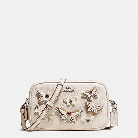 COACH f59070 CROSSBODY POUCH IN PEBBLE LEATHER WITH BUTTERFLY APPLIQUE SILVER/CHALK