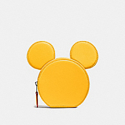 COACH F59071 Coin Case In Glove Calf Leather With Mickey Ears BLACK ANTIQUE NICKEL/BANANA