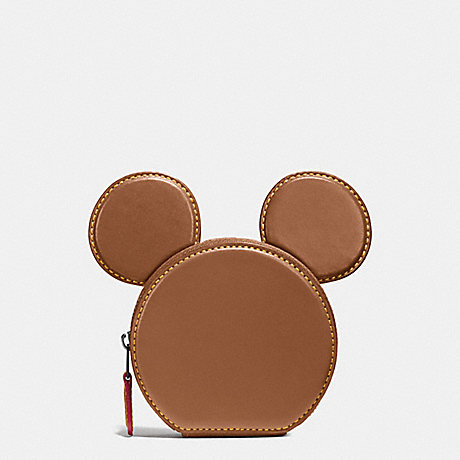 COACH F59071 COIN CASE IN GLOVE CALF LEATHER WITH MICKEY EARS ANTIQUE-NICKEL/SADDLE