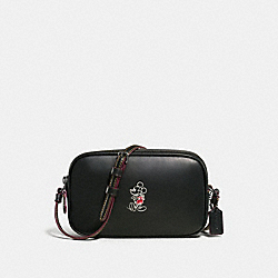 CROSSBODY POUCH IN GLOVE CALF LEATHER WITH MICKEY - f59072 - ANTIQUE NICKEL/BLACK