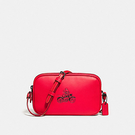 COACH f59072 CROSSBODY POUCH IN GLOVE CALF LEATHER WITH MICKEY BLACK ANTIQUE NICKEL/BRIGHT RED
