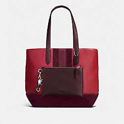 METROPOLITAN SOFT TOTE - f59080 - DARK NICKEL/BRICK RED