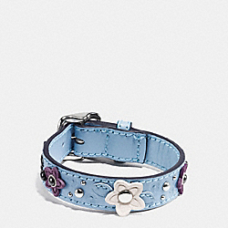 COACH F59081 Ranch Floral Leather Buckle Bracelet SILVER/CORNFLOWER