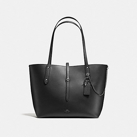 COACH f59093 MARKET TOTE WITH REBEL CHARM PRAIRIE PRINT BLACK/DARK GUNMETAL