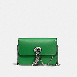 BOWERY CROSSBODY WITH REBEL CHARM - f59095 - DARK GUNMETAL/GRASS GREEN