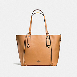 LARGE MARKET TOTE WITH WHIPLASH DETAIL - f59097 - LIGHT SADDLE/CLOUD/DARK GUNMETAL
