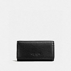 COACH 4 RING KEYCASE IN CROSSGRAIN LEATHER - BLACK - F59107