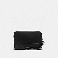 COACH F59117 Pouchette In Crossgrain Leather BLACK