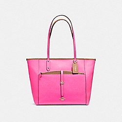 CITY TOTE WITH POUCH IN CROSSGRAIN LEATHER - f59125 - LIGHT GOLD/BRIGHT FUCHSIA