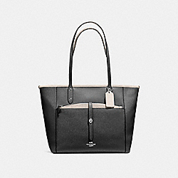 CITY TOTE WITH POUCH IN CROSSGRAIN LEATHER - f59125 - SILVER/BLACK CHALK