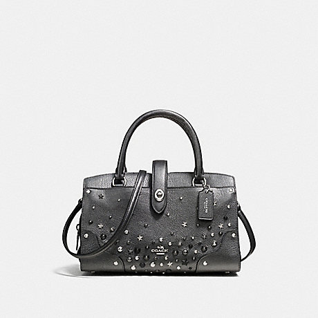COACH f59146 MERCER SATCHEL 24 WITH STAR RIVETS SILVER/METALLIC GRAPHITE