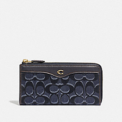 COACH F59170 L-zip Wallet In Signature Denim DENIM/LIGHT GOLD