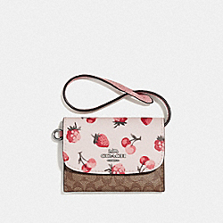 COACH F59176 - CARD POUCH IN SIGNATURE CANVAS WITH FRUIT PRINT KHAKI MULTI/SILVER