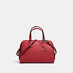 COACH F59180 Nolita Satchel In Pebble Leather SILVER/RED CURRANT