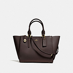 CROSBY CARRYALL IN CALF LEATHER - f59182 - LIGHT GOLD/DARK BROWN