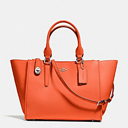 CROSBY CARRYALL IN CALF LEATHER - f59182 - SILVER/CORAL