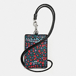 COACH F59228 Id Lanyard In Ranch Floral Print Mix Coated Canvas SILVER/MULTI