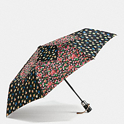 COACH F59246 - TEA ROSE AND POSEY CLUSTER UMBRELLA SILVER/BLACK STRAWBERRY