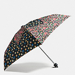 COACH F59247 - TEA ROSE AND POSEY CLUSTER MINI UMBRELLA SILVER/BLACK STRAWBERRY
