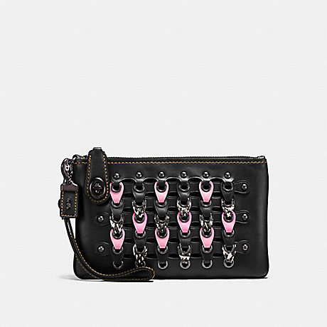 COACH F59253 TURNLOCK WRISTLET 21 WITH SNAKESKIN COACH LINK BLACK/PINK/BLACK COPPER